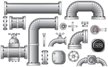Colección de tubería y aislado construcción Pipeline piezas, elementos de tuberías, válvulas, grifo (detallada - no degradados/no mallas)  Ilustración de vector