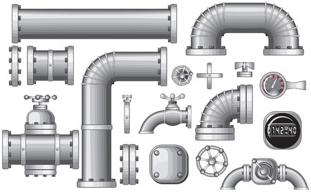 ventile: Sammlung von Pipe und Pipeline isoliert Konstruktion St�cke, Rohre Elemente, Ventil, Wasserhahn (detaillierte - kein Farbverl�ufekeine Maschen)