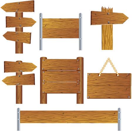 letrero: Colección de signo de madera y señal