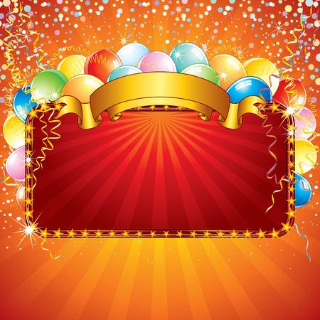 red balloons: Festive birthday sign-vector illustration