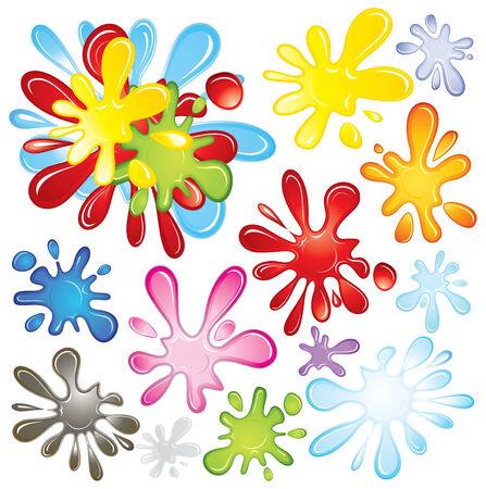 Kleur verf spatten-vector Vector Illustratie