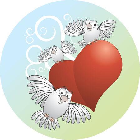 paloma caricatura: Aves de vector de dibujos animados con escuchar