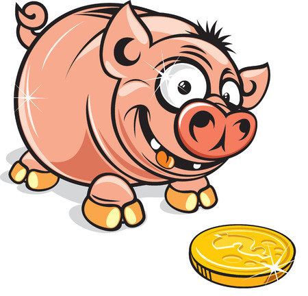 Funny Cartoon greedy Piggy Bank-vector clip art Vector
