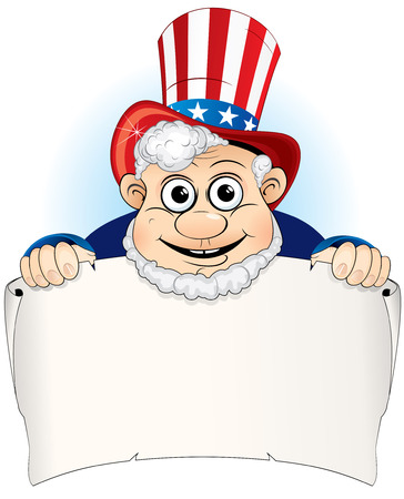 Uncle Sam with aged paper scroll Vector