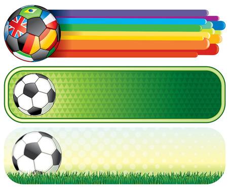 bijschrift: Voet bal kleurrijke banners voor uw ontwerp