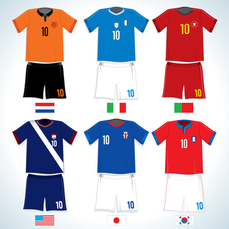 Abstract Soccer uniforms :Dutch, USA, Italy, Japan, Portugal, S.Korea-vector image with easy editable colors