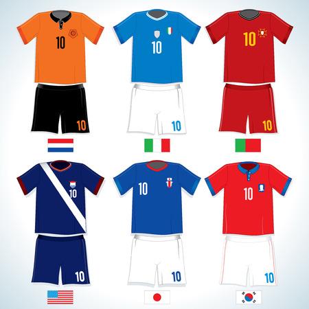 the netherlands: Voet bal uniformen abstracte: Nederlands, Verenigde Staten, Italië, Japan, Portugal, S.Korea-vector afbeelding met gemakkelijk bewerkbare kleuren