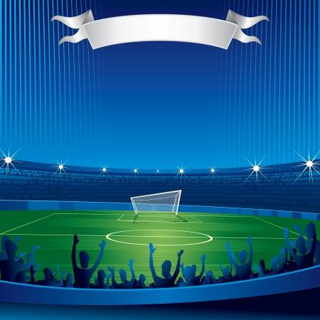 Voetbalstadion met fans-vector achtergrond voor uw tekst