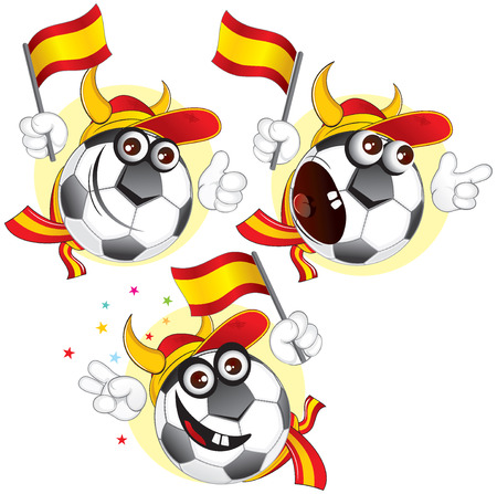 flag of spain: Cartoon football character emotions- Spain Illustration