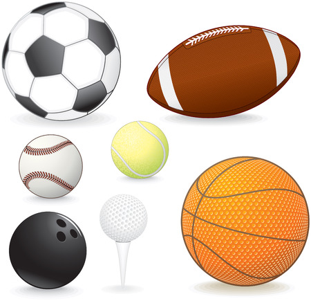 equipments: Collection of vector sport balls: soccer, football, baseball, tennis, bowling, golf, basketball Illustration