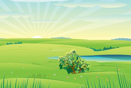 grass land: Hermoso d�a soleado, paisaje de vector