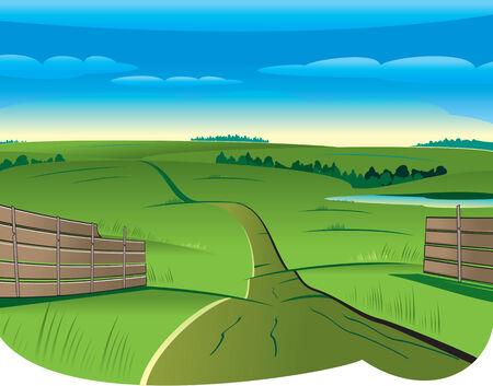 Vector Illustration of Summer kurvige Landstraße vom Zaun zu Skyline
