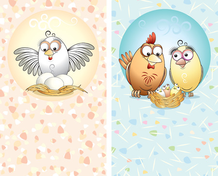 the feast of the passover: Two cards with cute chickens Illustration