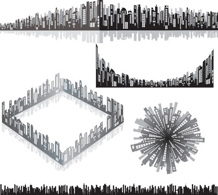 panoramas: Creative isolated vector panoramas set for your design