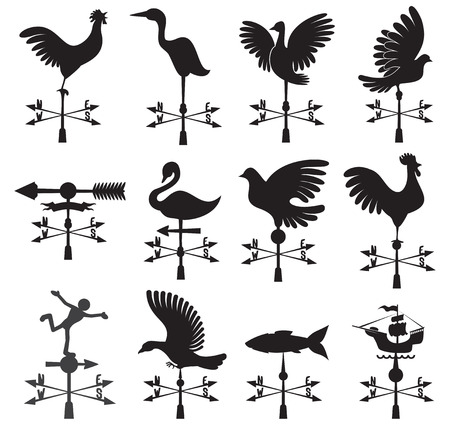 Hand drawn set of different weather vanes