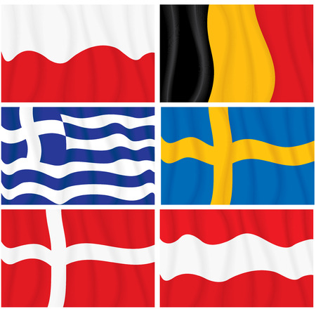 Set of waving textile European flags-vector without gradients Vector