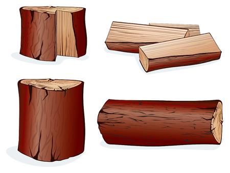 Elementos vectoriales de madera de set.Isolated