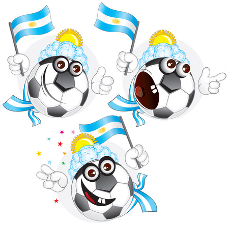 Cartoon football character emotions- Argentina Vector