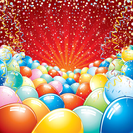 red balloons: Colorful brightly backdrop with balloons, confetti, ribbons... -for your text or design. Illustration