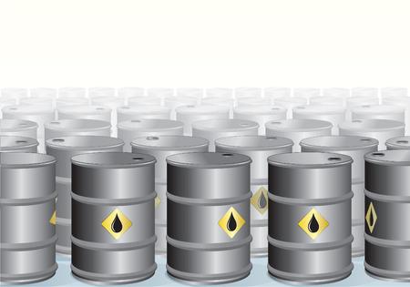 oliedrum: Gestapelde olie vaten achtergrond - vector illustratie