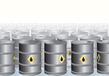 fuel storage tank: Stacked Oil barrels backdrop - vector illustration