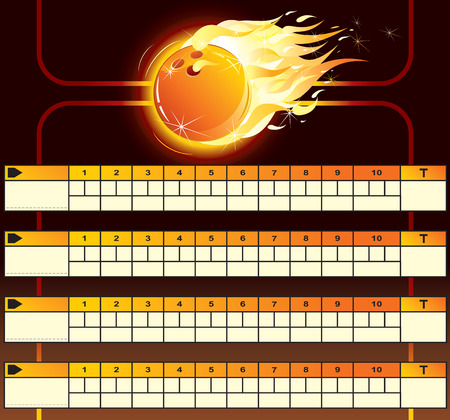 flame letters: Bowling scoreboard-vector Illustration