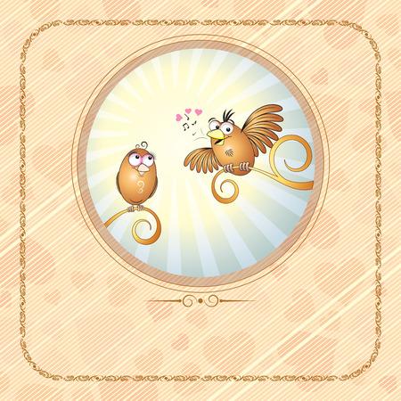 veréb: Birds in love -vector card  Illusztráció