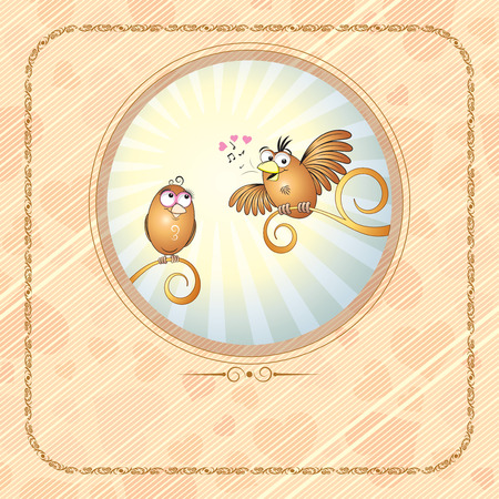 Birds in love -vector card Stock Vector - 7649834