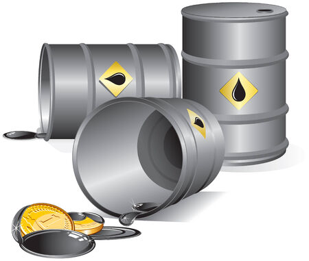 Oil barrels set-separated vector objects  Stock Vector - 7649811
