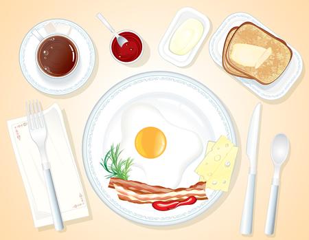 Vector Breakfast-toast, burro, uovo fritto, pancetta e caffè (seaprated oggetti) Vettoriali