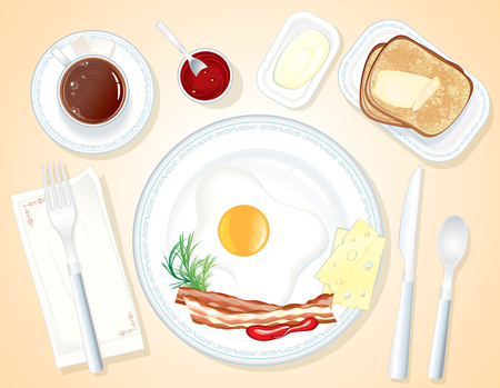 ordinary: vector Breakfast-toast, butter, fried egg, bacon and coffee (seaprated objects)