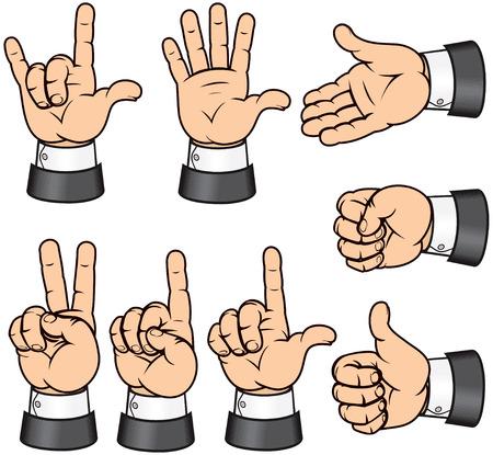 Collection de gestes-vecteur de mains isolés détaillées  Vecteurs