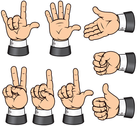 mani cartoon: Insieme di gesti-vettoriale di dettagliate isolate mani