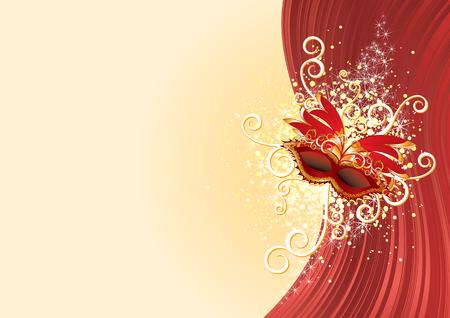 parade confetti: Cartel de carnaval festivo con m�scara