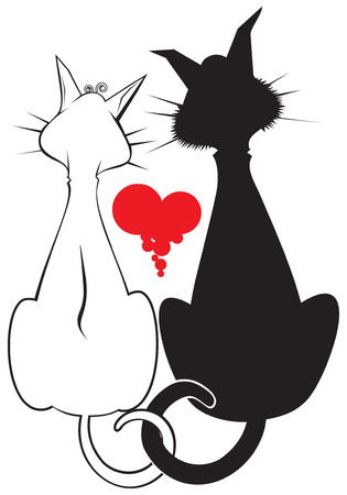 Pair of cats.vector graphics  Vector