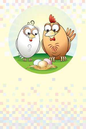 Easter card with cute chickens Vector