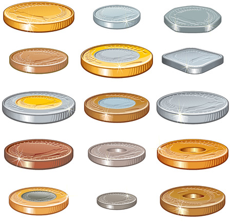 Numismatic collection of various world coins,Vector without gradients  Vector