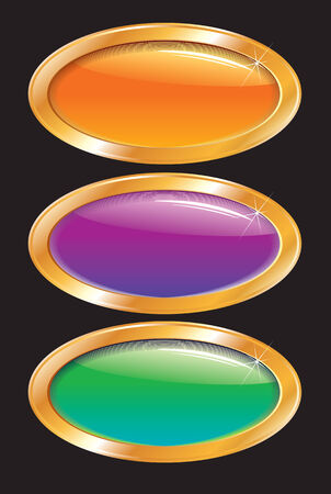 buckles: Colored shiny buckles with golden frame-vector illustration