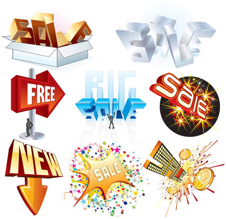 Creative set of sale signs and illustrations (no mesh) Vector
