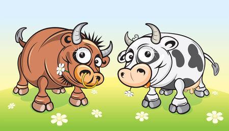 Cartoon farm animals.Cow and Bull on meadow
