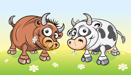 Cartoon farm animals.Cow and Bull on meadow  Vector