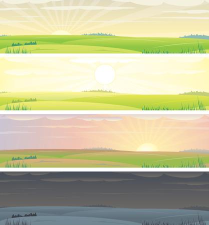 정오: Banners with landscape  showing day cycle, vector illustration