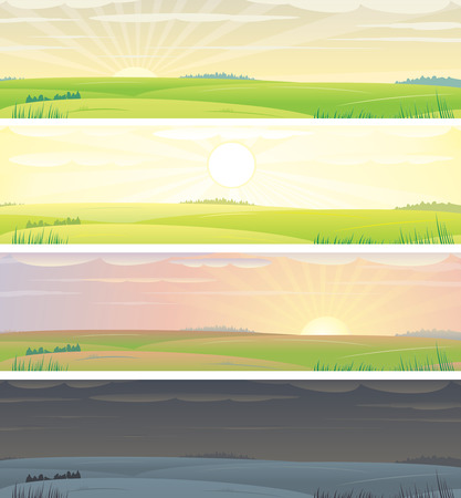 morning noon and night: Banners with landscape  showing day cycle, vector illustration