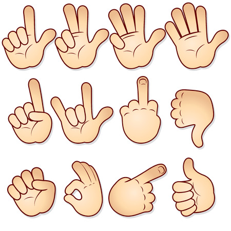 hand cartoon: Cartoon hands collection-vector icon set Illustration