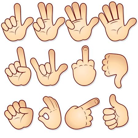 mano cartoon: Set di icone di cartone animato le mani insieme vettoriale