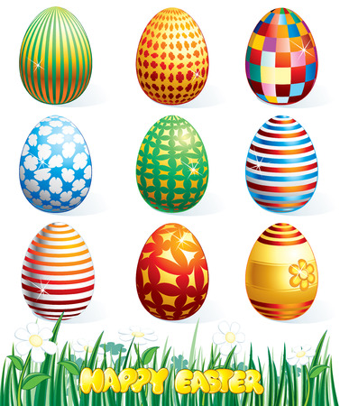 Collection of beauty easter eggs.Vector clip art Stock Vector - 7649824