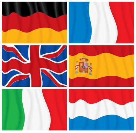Set of waving textile European flags-vector without gradients Stock Vector - 7649843