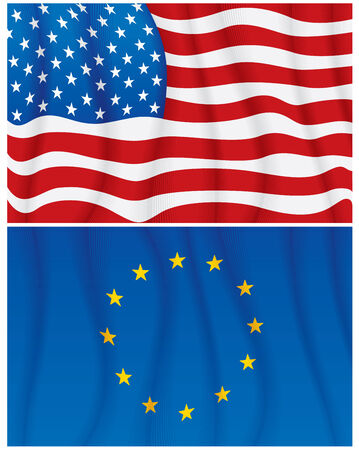 european culture: Illustration of waving USA and EU flags-No meshes used Illustration