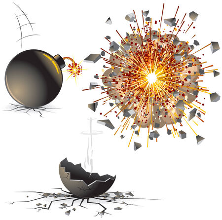Illustration of bomb at different stages-detailed illustration Stock Vector - 7684631