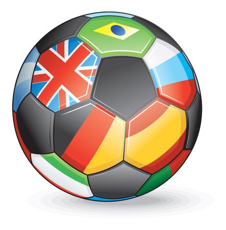 世界のフラグとサッカー ボール